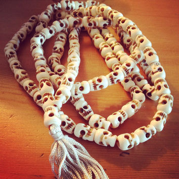 Vintage Goddess Kali Yak Bone Mala 108 Beads Meditation Om Long Necklace or Wrap Bracelet