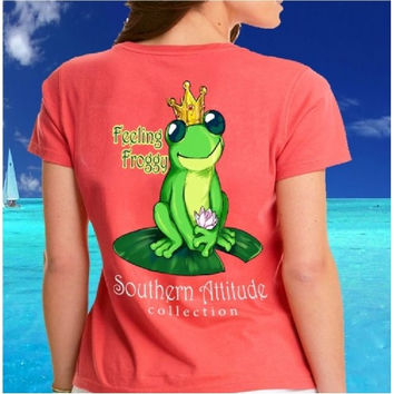 Southern Attitude Preppy Frog Lilly Pad  Coral T-Shirt