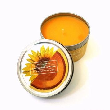NEW Bloom & Prosper SUNFLOWER & WOOD Scented Travel Candle Tin 5 oz