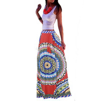 Plus Size 2017 Summer Brand Women Long Skirt Bohemian Style Retro Printed Elastic Waist Loose Maxi Skirt Casual Beach Skirts