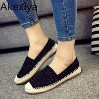Akexiya Spring Summer Rivet Women's Casual Flat Round Toe Loafers Espadrilles Boat Hemp Rope Weave Shoes