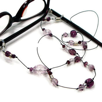 Amethyst, Purple Beaded Eyeglass Lanyard, Reading Glasses Holder, Stylish Eyewear, Granny Glasses Chain, Glasses Leash, Eyeglass Necklace
