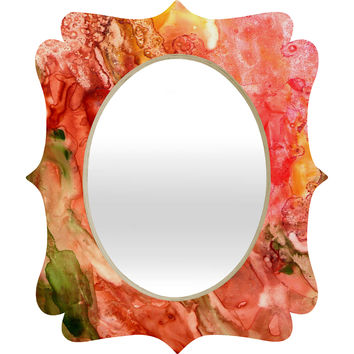 Rosie Brown Abstract Red Yupo Quatrefoil Mirror