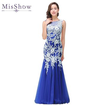 In stock Real Photo Mermaid White Lace Royal Blue Long Evening Dress 2018 Elegant Robe De Soiree Longue Evening Gowns