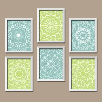Wall Art Kitchen Bedroom Bathroom Mandala Flower Canvas Artwork Custom Colors Aqua Green Botanical Set of 6 Dahlia Flower Petal Bloom Decor