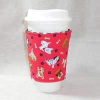Adorable Slide On Coffee Cozy Made With Dog Inspired Fabric