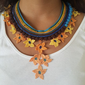Colorful Necklace, Beaded Crochet Necklace, Elegant Necklace, Crocheted Lace Necklace, freeform necklace, gift ideas, beadwork necklace