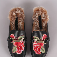 Wild Diva Lounge Embroidered Floral Horsebit Mule Flat