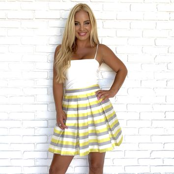 With Desire Stripe Skater Skirt