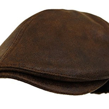 Muan Newsboy Cabbie Hat Mustang Leather Ivy Driving Hunting Cap (1. Brown)