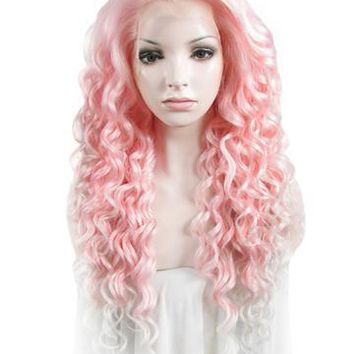 26 inch Curly Pink to White Ombre Lace Front Synthetic Wig