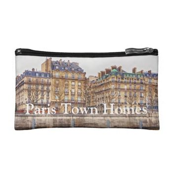 Paris Town Homes River Seine Cosmetic Bag