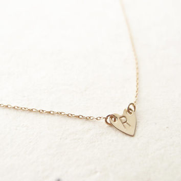 Gold Heart Initial Necklace - hand stamped, monogram, initials, personalized, heart, bridesmaid