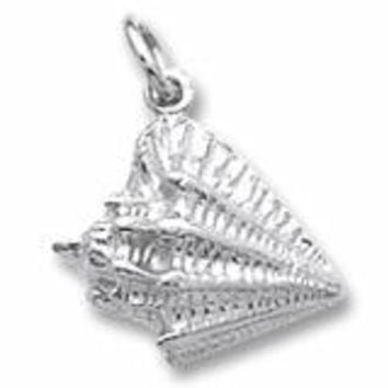 Conch Shell Charm In Sterling Silver