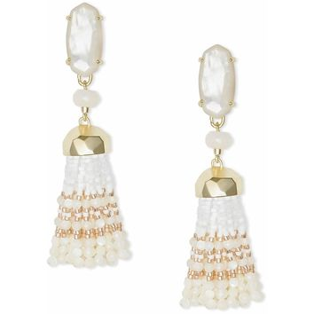 Kendra Scott Dove Gold Statement Earrings In Ivory Pearl