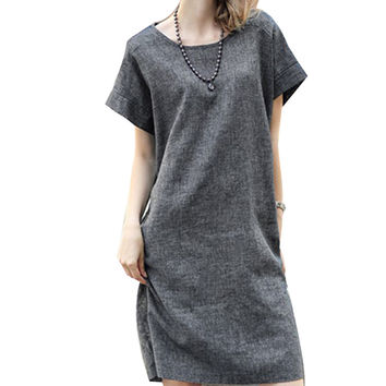 New Arrival 2017 Summer New Fashion Women Casual Straight Dress Short Sleeve O-neck Solid Dark Grey Handmade Plate Linen dress