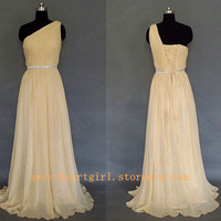 A-line One Shoulder Beading Sleeveless Floor-length Chiffon Prom Dresses/ Evening Dresses from Cute Dress
