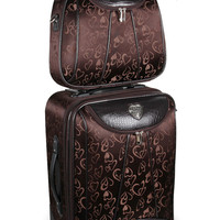 Brown Heart Rolling Luggage & Cosmetic Case Set