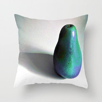 Groovy Pear - turquoise, purple, fruit - Decorative Throw Pillow Cover, 3 Sizes Available - Home, Gift, Newlyweds - Made To Order - GP#79