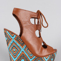Women's Alluring Tribal Embroidered Caged Wedge