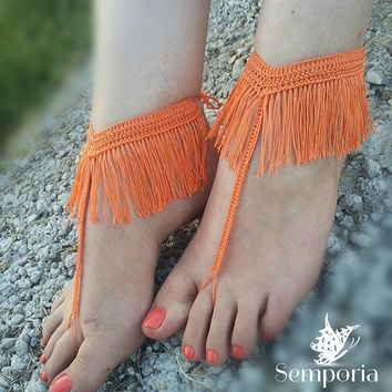 Fringe Barefoot Sandals-Crochet barefoot sandals-Fringe Foot jewelry-Beach barefoot sandals-Fringe shoes-Beach sandals
