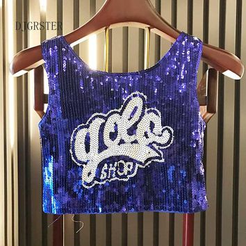 DJGRSTER Women Stage Performance Tops Sequined Letter Sexy Girl Hip Hop clothing Female Costumes Loose jazz Dance Shirts