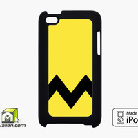 Charlie Brown Yellow Black Chevron iPod Touch 4th Case Cover by Avallen