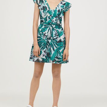 Flounced patterned dress - Light turquoise/Green pattern - Ladies | H&M GB