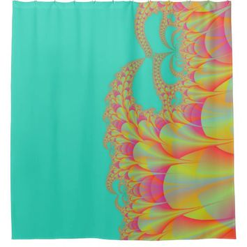 Aqua, Pink And Gold Colors Abstract Fractal Design Shower Curtai