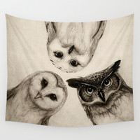 The Owl's 3 Wall Tapestry by Isaiah K. Stephens