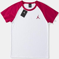 AIR JORDAN Tide brand men and women classic embroidery logo round neck shirt Red