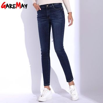 Jeans Female Plus Size Pants High Waist Denim Pant Skinny Mom Jeans Woman Cotton Thick Elastic Pencil Jean For Women GAREMAY