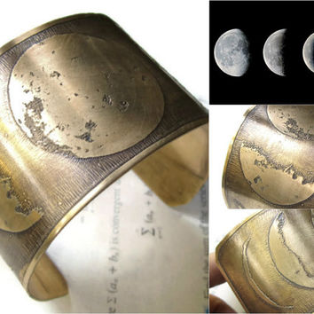 Moon Phase - Brass Cuff - Moon Bracelet - Moon Jewelry - Brass Jewelry - Brass Bracelet - Bracelet Cuff - Moon Cuff - Crescent Moon