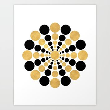 CIRCULAR BLACK AND GOLD SHAPE Art Print by deificus Art