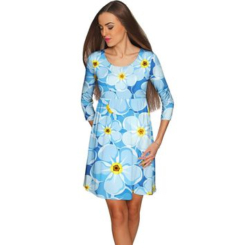 Forget-Me-Not Gloria Empire Waist Blue Dress - Women