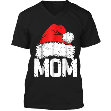 Mom Christmas Santa Family Matching Pajamas Mama PJs Mens Printed V-Neck T