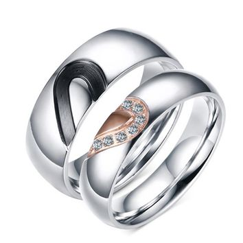 2017 NEW Couple Ring for Women Men Stainless Steel Heart Promise Jewelry for Marriage engagement Rings