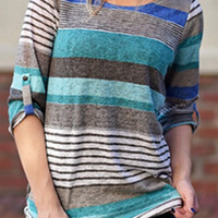 Multi Color Striped Roll-up Sleeve Casual Top