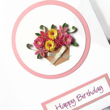 Quilled flowers birthday card, quilled card, birthday card, greeting card, quilling card, handmade card, paper quilling card, flowers card