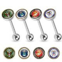 U.S. Military Logo Print Inlayed 316L Surgical Steel Barbell, Army, Sold Individually