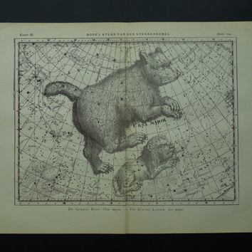 Old star chart Dutch vintage astronomy map of Great Bear Big Dipper Ursa major Leo Cancer sign hemisphere constellation stars 26x37c 10x15''