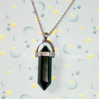 Black Crystal Quartz Necklace, Healing Chakra Black Stone Crystal Quartz Necklace