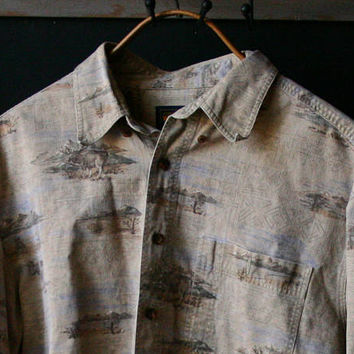 Mens Outdoors Shirt Sport Shirt Outdoorsman Woolrich Brand Corduroy Mountains Elk Vintage From Nowvintage on etsy
