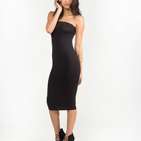 Simple Rayon Tube Dress - Black