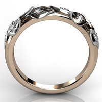 14k two tone rose and white gold diamond unusual unique floral wedding band LB-2027-6.