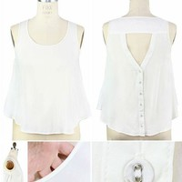 Triangle Button Back Top- Wht