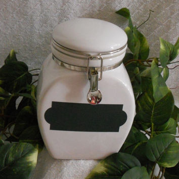 Canister in white with chalkboard feature. Ceramic canister. Ceramic canister with lid. Glass canister. Cookie jar. Storage jar. Canister