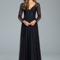 Hayley Paige Occasions 5819 Floor Length English Net and Lace Bridesmaids Dress