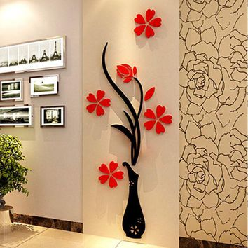 CREYHY3 Vase 3D acrylic crystal three-dimensional wall stickers tv background wall entranceway hallway home decoration