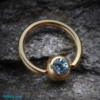 Gold Plated Gem Ball Captive Bead Ring